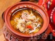 Пилешка супа от домашна кокошка със зеленчуци без застройка